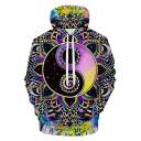 Fashion Cool 3D Floral Eight Diagrams Picture Print Pullover Drawstring Hoodie