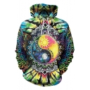 Funny 3D Cool Floral Eight Diagrams Picture Print Loose Fitted Blue Pullover Drawstring Hoodie