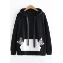 Cute Cartoon Cat Embroidered Kangaroo Pocket Long Sleeve Loose Fit Hoodie