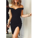 Women's Off The Shoulder Split Front Simple Plain Mini Sheath Dress for Party