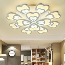 White 2 Tiers Petal LED Ceiling Light Modern Fashion Acrylic Multi Lights Semi Flush Light