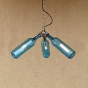 Loft Style Bottle Hanging Light Amber/Blue/Clear/Smoke Glass Shade 3 Heads Chandelier Lamp