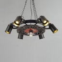 Black Wagon Wheel Chandelier Industrial Wrought Iron 6 Bulbs Suspended Light for Coffee Shop