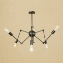 Adjustable Arm Chandelier Industrial Metal 6 Lights Hanging Lamp in Black for Sitting Room