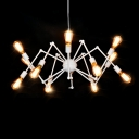 Abstract Multi Arm Chandelier Industrial Metallic 12 Bulbs Hanging Light in White