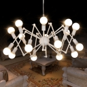 White Finish Abstract Chandelier Industrial Iron Multi Lights Suspension Light for Living Room