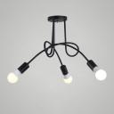 3 Bulbs Twist Light Fixture Post Modern Metal Suspension Light in Black for Bedroom