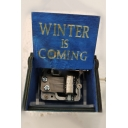Popular Letter WINTER IS COMING Carved Retro Wooden Hand Cranked Music Box