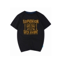 Fashion Gold Stamped Letter SUPERIOR Tiger Head Print Summer Cotton Relaxed Tee