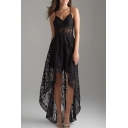 Chic Black Hollow Out Crochet High Low Hem Asymmetrical Slip Dress for Party