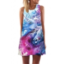 Trendy Blue 3D Unicorn Pattern Round Neck Casual Mini Swing Tank Dress