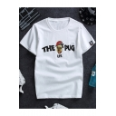 Summer Funny Cartoon Dog Letter THE PUG LIFE Print Loose Fit T-Shirt