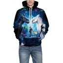 Blue 3D Cartoon Figure Print Casual Loose Long Sleeve Pullover Drawstring Hoodie