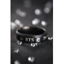 Kpop Letter Print Simple Black Ring for Couple