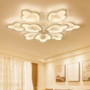 Matte White 2 Tiers Ceiling Light with Round Canopy Concise Acrylic Multi Light LED Semi Flushmount