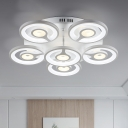 3/6 Lights Round Ceiling Light Contemporary Acrylic Energy Saving LED Semi Flushmount in White