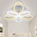 Simplicity Oval Ring LED Ceiling Light Metallic 6/12 Heads Semi Flush Mount in White for Coffee Shop