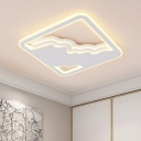 Squared LED Flush Lighting with Cloud Design Modern Chic Metal Ceiling Light in Warm/White
