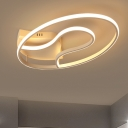 Acrylic Oval Semi Flush Light Contemporary Decorative LED Ceiling Lamp in Neutral for Sitting Room