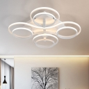 2 Tiers LED Ceiling Lamp Contemporary Metallic Semi Flushmount in White for Exhibition Hall