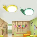 Green/Yellow Snail Ceiling Lamp with Acrylic Shade LED Flush Mount for Baby Kids Room