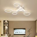Scissors LED Semi Flush Light with Ring Shade Simplicity Stylish Metal Ceiling Lamp in White