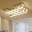 Metallic Linear Flush Mount Modernism Multi Lights LED Ceiling Light in Warm/White for Hotel Hall