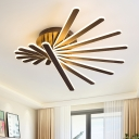 Modern Fashion Linear Semi Flush Light Metal 8 Lights LED Ceiling Lamp in Brown for Staircase