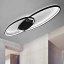 2 Oval Ring Flushmount Modernism Simplicity Metallic LED Ceiling Light in Third Gear