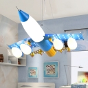 5 Lights Airplane Suspended Light with Frosted Glass Shade Game Room Hanging Lamp in Sky Blue