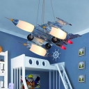 Metallic Chandelier with Blue Aircraft Triple Lights Suspended Light for Kindergarten