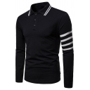 Fashion Four Striped Long Sleeve Rib Collar Men's Slim Fit Polo Shirt
