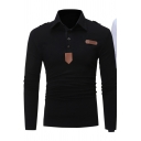 Stylish Leather Patched Long Sleeve Solid Color Men's Slim Fitted Polo Shirt