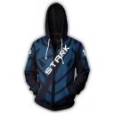 3D Letter STARK Print Cosplay Costume Long Sleeve Full Zip Blue Hoodie