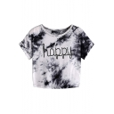 Simple Letter HAPPY Fashion Tie Dye Print Round Neck Short Sleeve White Cropped Tee