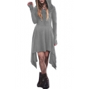 Simple Plain Fashion Long Sleeve Asymmetrical Hem A-Line Hoodie Dress