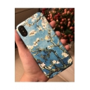 Light Blue Oil Painting Floral Print Hard Polish Mobile Phone Case