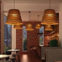 Horn Hanging Lamp with Paper Shade Asian Style 1 Bulb Decorative Ceiling Pendant Light in Brown