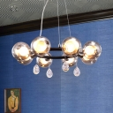 Modern Chic Circular Chandelier Lamp with Globe Smoke Glass Shade 6/8 Lights Hanging Light