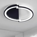 Metal Semicircle Canopy Flushmount Nordic Style LED Ceiling Lamp in Black for Living Room Bedroom