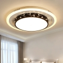 Black Round Shade Surface Mount Light Nordic Style Metallic LED Flush Mount for Living Room