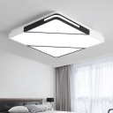 Geometric Square LED Flush Mount Contemporary Concise Metallic Ceiling Fixture in Warm/White