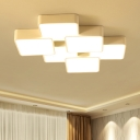 4/6 Heads Blocks Flush Light Fixture Minimalist Metallic LED Ceiling Fixture in White for Sitting Room