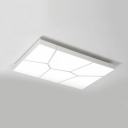 Rectangular Flush Light Fixture with Water Cube Design Modernism Acrylic LED Ceiling Lamp in White