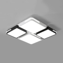 Black and White Blocks Ceiling Light Minimalist Metal Surface Mount LED Light for Study Room