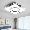 Simplicity Square Ring Flushmount Acrylic Shade LED Ceiling Flush Mount in Black and White