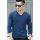 Men's Basic Simple Plain V-Neck Long Sleeve Regular-Fit T-Shirt