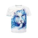 Summer 3D Tiger Painting Round Neck Loose Leisure White Tee