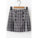 Classic Check Printed High Waist Double-Breasted Mini A-Line Skirt