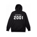ORIGINAL 2001 Basic Loose Casual Long Sleeve Pullover Black Drawstring Hoodie